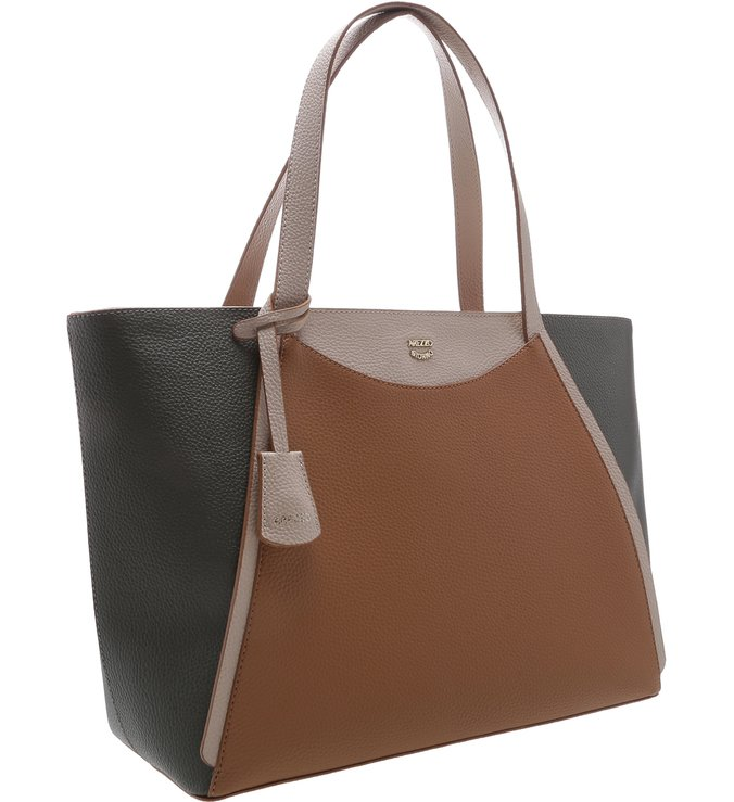 Bolsa Shopping Bianca Grande Natural Tan, Latte e City Army