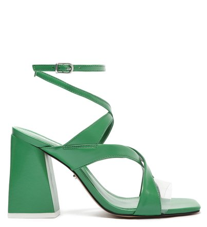 Sandália Verde Couro Bloco Geométrica