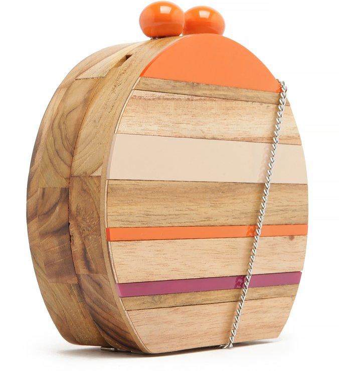 Bolsa Clutch Acrílico Madeira Adélia Pequena Multicolorida Mandarine