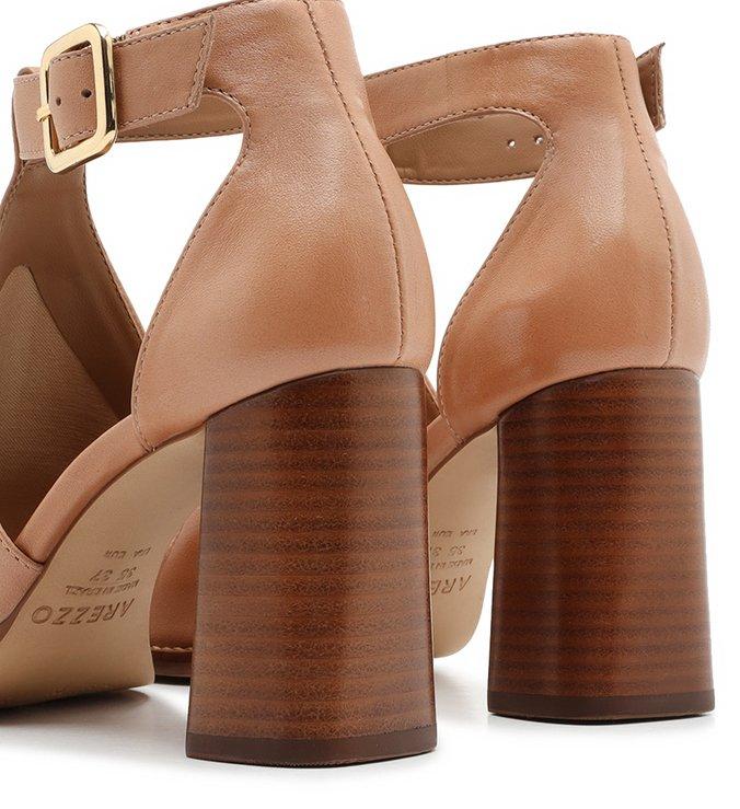 Sandal Boot Nude Couro Salto Bloco Fivela Pale Nut