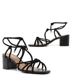 Sandália de Amarrar Preta Croco Salto Baixo