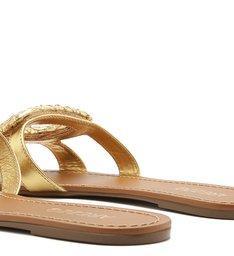 Sandália Rasteira Couro Metalizado Fivela Bico Quadrado New Golden