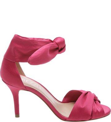 Sandália Cetim Lace Up Lady Pink | Arezzo