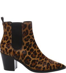 Bota Chelsea Leopard Bico Fino Animal Print