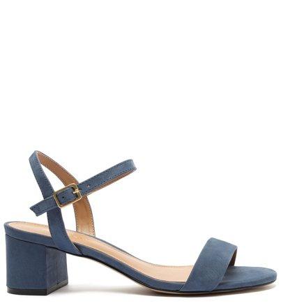 Sandália Azul Nobuck Salto Bloco Baixo