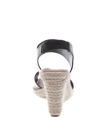 Sandália Plataforma Couro Salto Fibra Preta