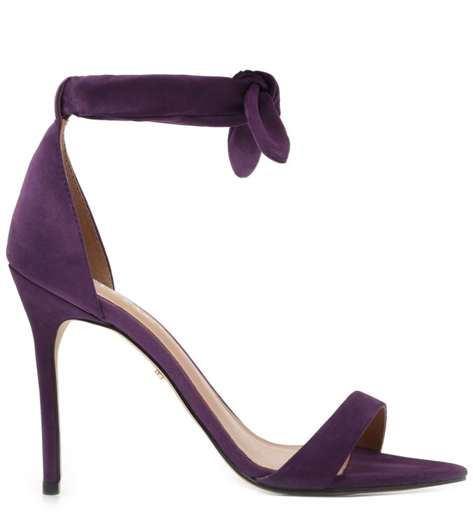 Sandália Roxa Nobuck Salto Fino Lace Up Real Purple