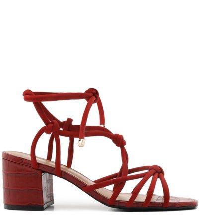 Sandália de Amarrar Vermelha Croco Salto Baixo