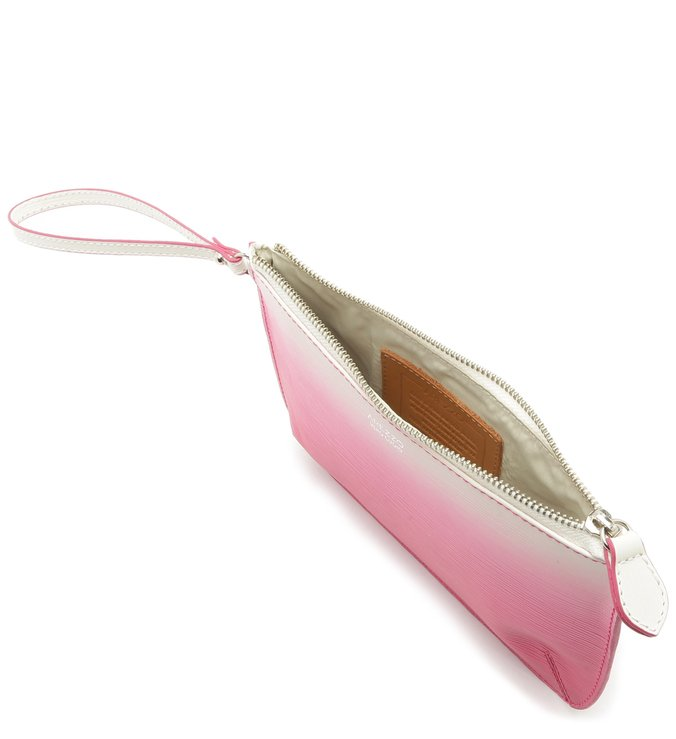 Necessaire Couro Bella Ombré Bianco e Summer Pink
