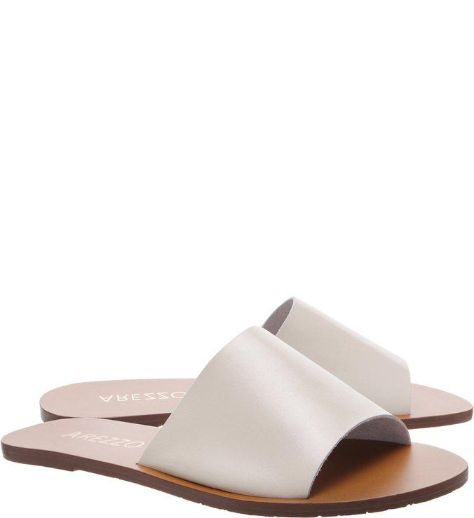 Slide Couro Flat Savannah Off White