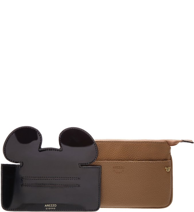 Disney | Necessaire Grande Disney Natural Tan e Preta