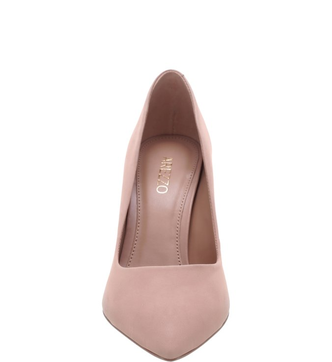 Scarpin Nobuck Salto Fino Light Cream
