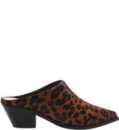 Mule Leopardo Salto Bloco Animal Print Caramelo