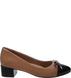 Scarpin Verniz Soft Cap Toe Tiny Bow Preto e Pale Nut