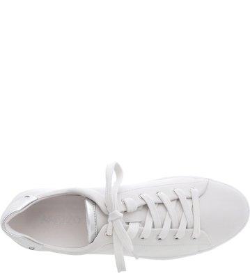 dc380839c Tênis Couro Branco Casual Detalhe Silver