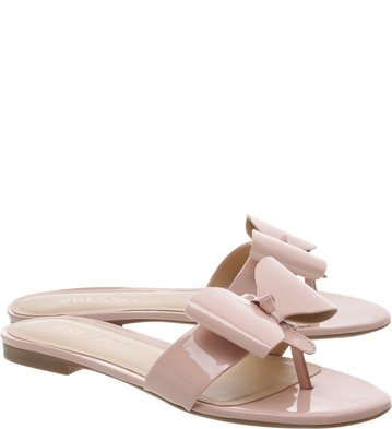 Chinelo Verniz Bow Rose Mist