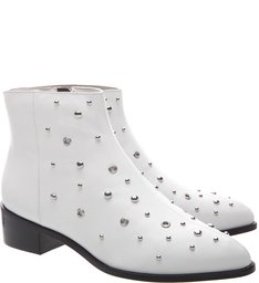 Ankle Boot  Couro Metais  Bianco