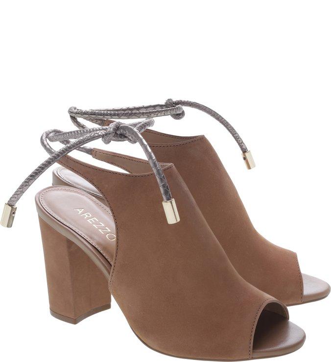 Sandal Boot Nobuck Salto Alto Bloco  Amarrações Frappe e New Titanium