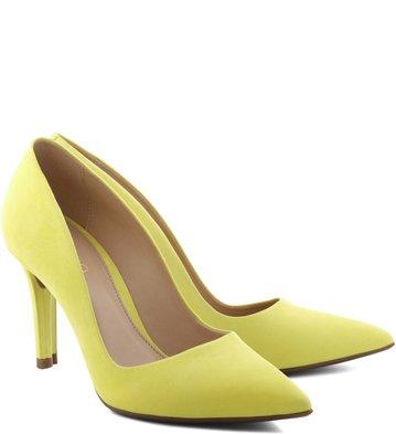 Scarpin Médio Nobuck Vibrant-Yellow