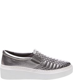 Tênis Slip On Matelassê Metalizado Old Silver