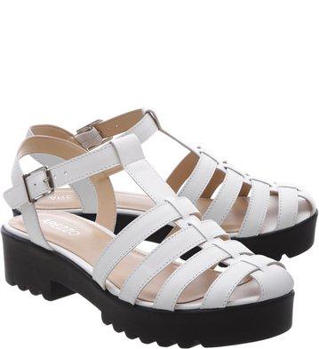 Sandália Tiras Tratorado Branco
