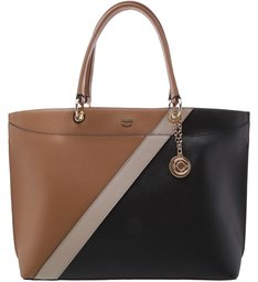 Bolsa Shopping Juliana Grande Natural Tan e Preto