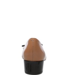 Scarpin Verniz Soft Cap Toe Tiny Bow Preto e Pale Nut