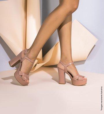 Sandália Couro Double Feminino Rose Blush