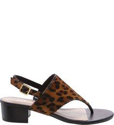 Sandália Pelo Salto Baixo Bloco Leopardo