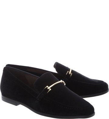 Mocassim Preto Veludo Little Metal