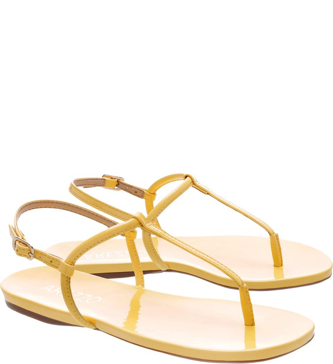 154bc444f7 Sandália Rasteira Slim Listras Amarelo