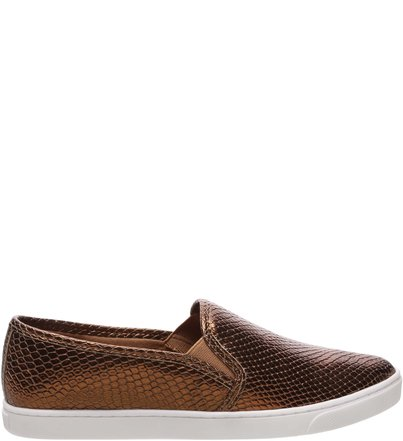 e8e9477bae0 Tênis Slip On Snake Bronze