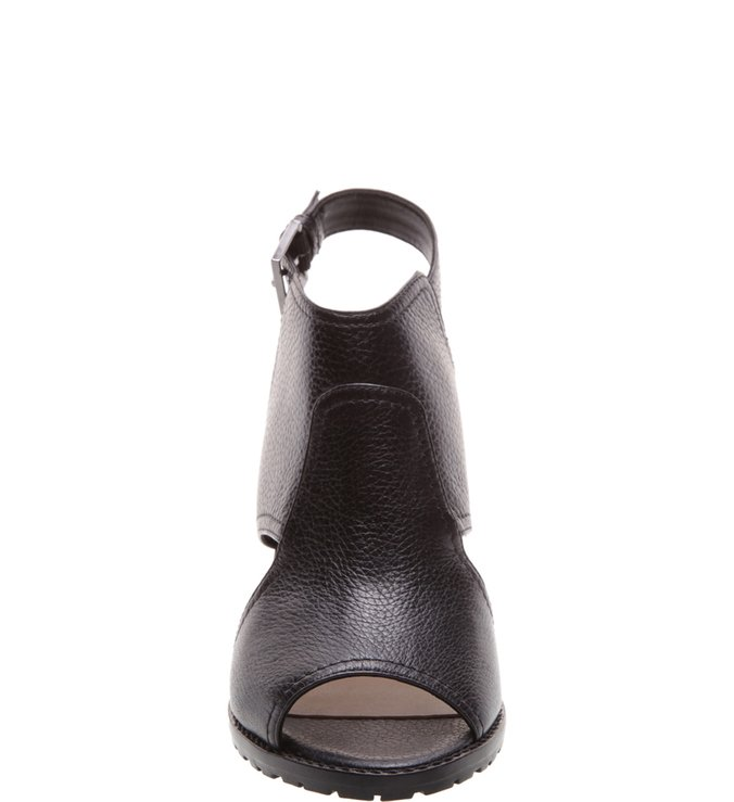 Sandal Boot Couro Salto Bloco Médio Preta
