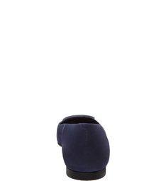 Sapatilha Nobuck Bico Quadrado Fivela Navy Blue