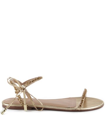 Rasteira Lace Up Glam Ouro