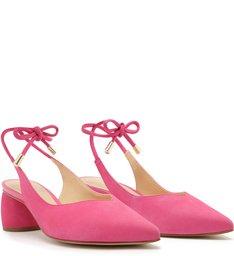 Scarpin Nobuck Salto Bloco Slingback Amarração Pink Absolut