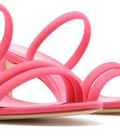 Sandália Aberta Nobuck Salto Kitten Tiras Pink Absolut