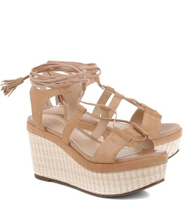 Flatform Lace-up Suede Nude-Rose