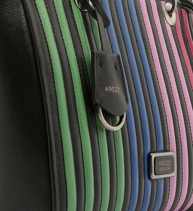 Bolsa Tote Couro Lígia Grande Preta Multicolorida