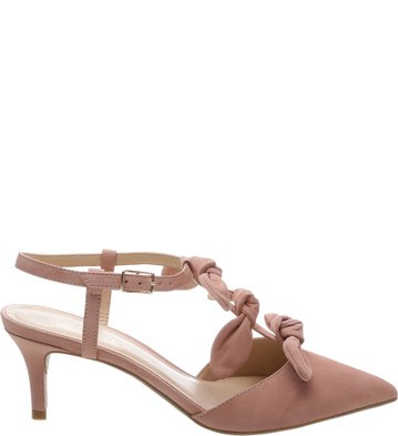 Scarpin Nobuck Salto Médio Tiny Bow Rose Blush