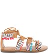 Rasteira Lace-up Ethnic Multi Tan