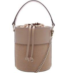 Bolsa Couro Bucket Pequena Nina Pale Beige