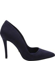 Scarpin Nobuck Salto Alto Azul Oxford
