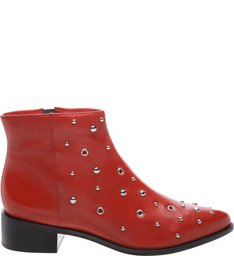 Ankle Boot Couro Metais Royal Red