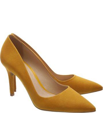 Scarpin Nobuck Médio Old Yellow