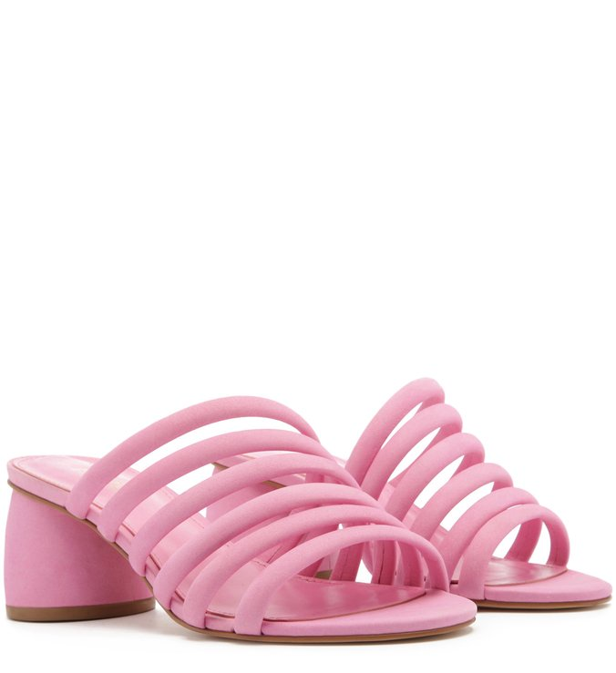 Sandália Nobuck Tiras Bombadas Salto Redondo Baby Pink