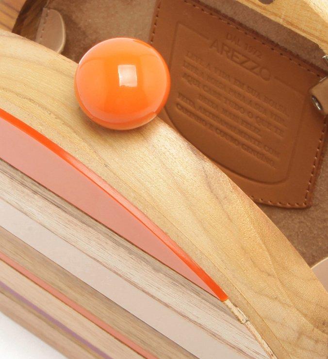 [ELE VOLTOU] Bolsa Clutch Acrílico Madeira Adélia Pequena Multicolorida Mandarine