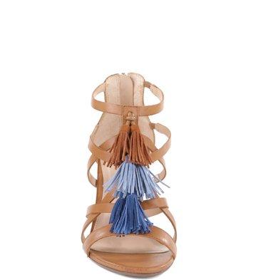 Sandália Couro Franjas Multi-Blue