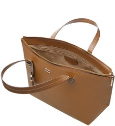 Bolsa Shopping Agnes Grande Natural Tan e Imbuia