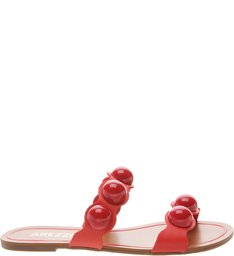 Chinelo Slide Couro Pérola Perfect Red